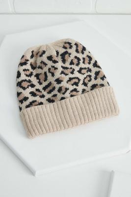 leopard print cuffed beanie