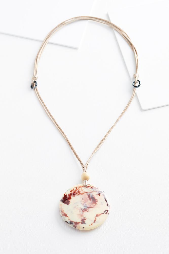 Matte Marbled Disc Necklace
