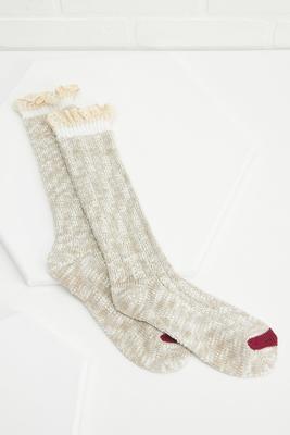 crochet trimmed boot socks