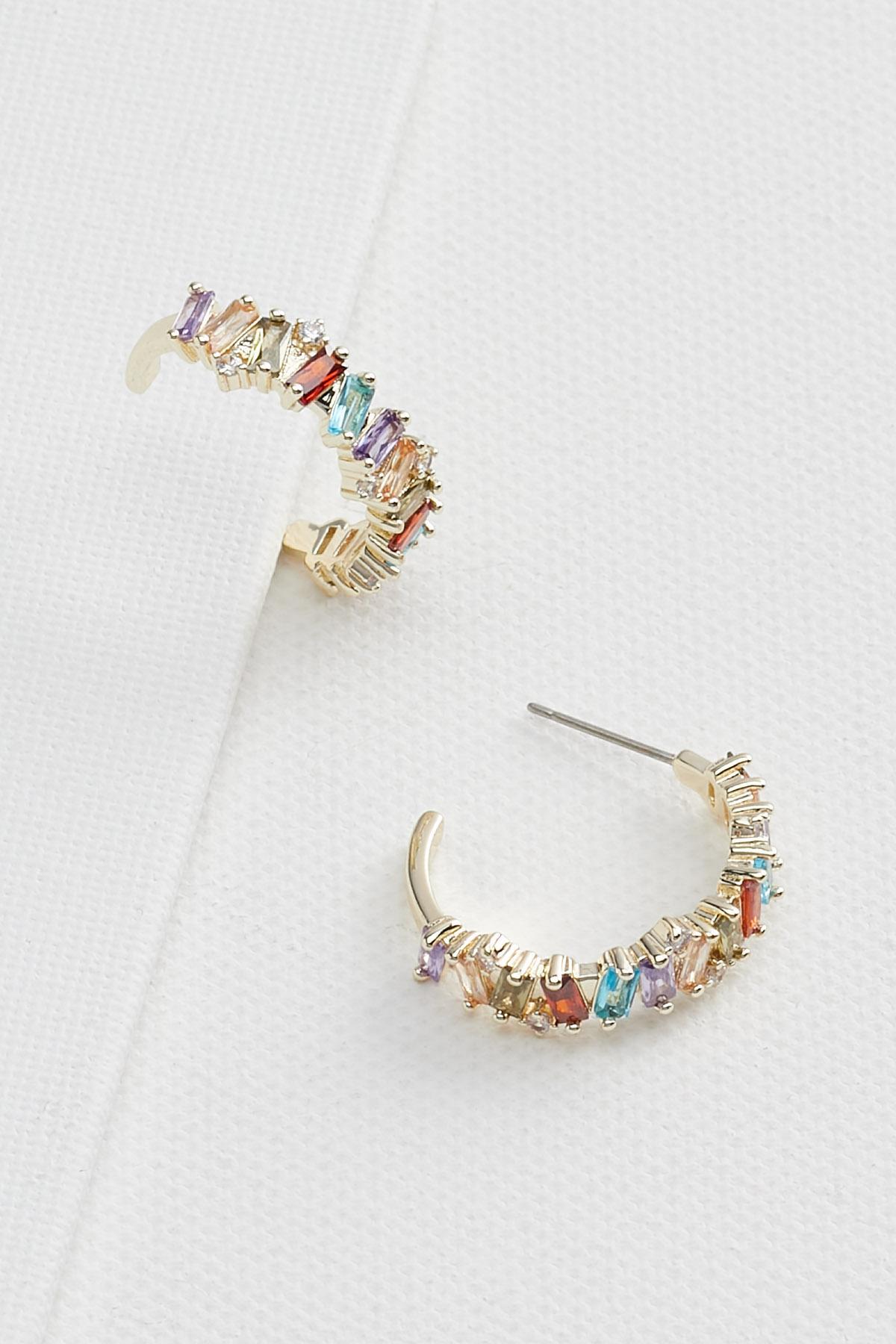 18k Colorful Baguette Hoop Earrings