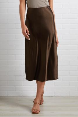 milk chocolate midi skirt