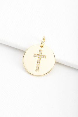 18k oval cross charm
