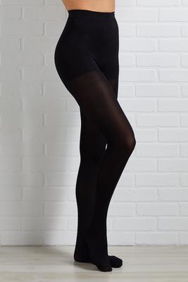 control top black opaque tights
