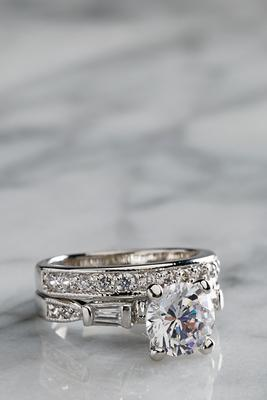 double band engagement ring set