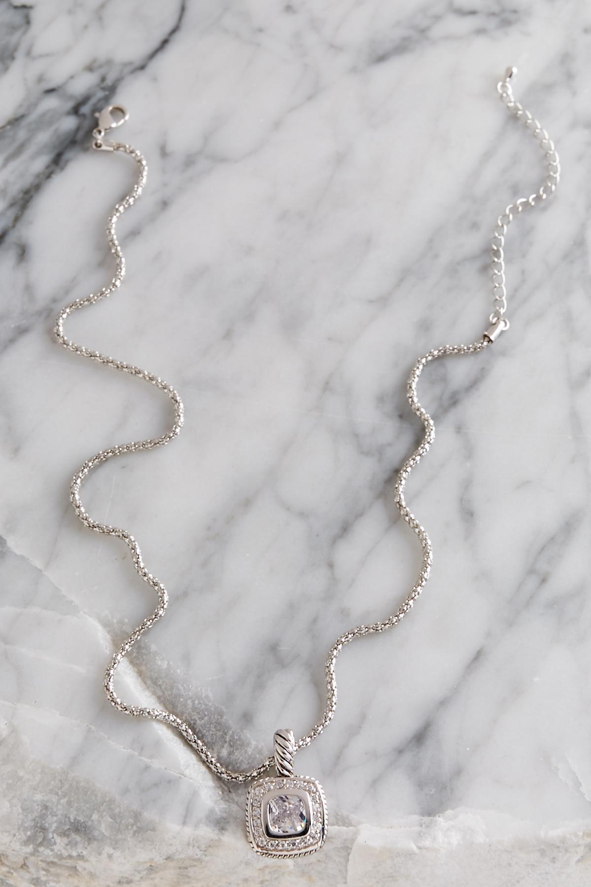 Cz Cushion Pendant Necklace