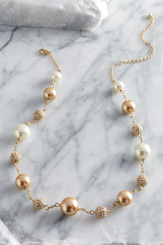 Pearl And Fireball Link Necklace