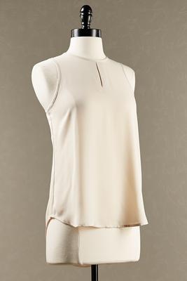 slit neck sleeveless blouse