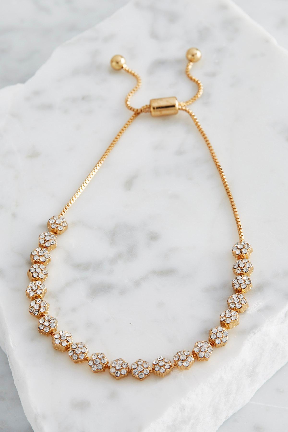 Pave Flower Dainty Bracelet