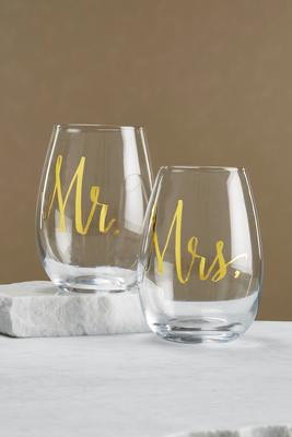 mr. and mrs. glassware set
