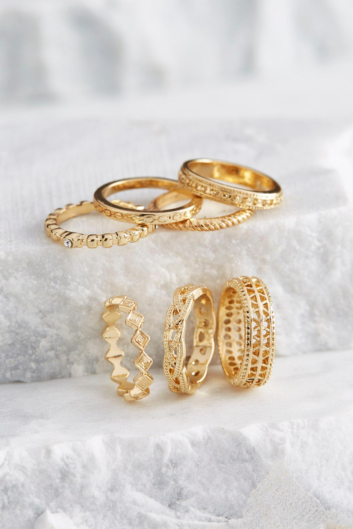 Mixed Texture Ring Set