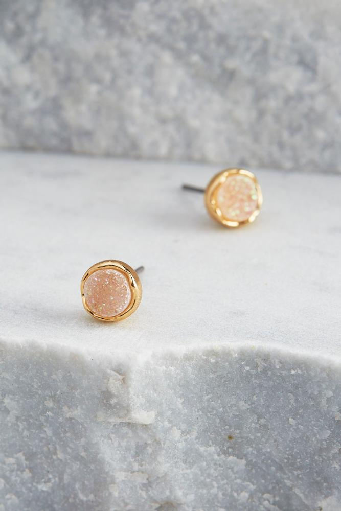 Druzy Button Stud Earrings