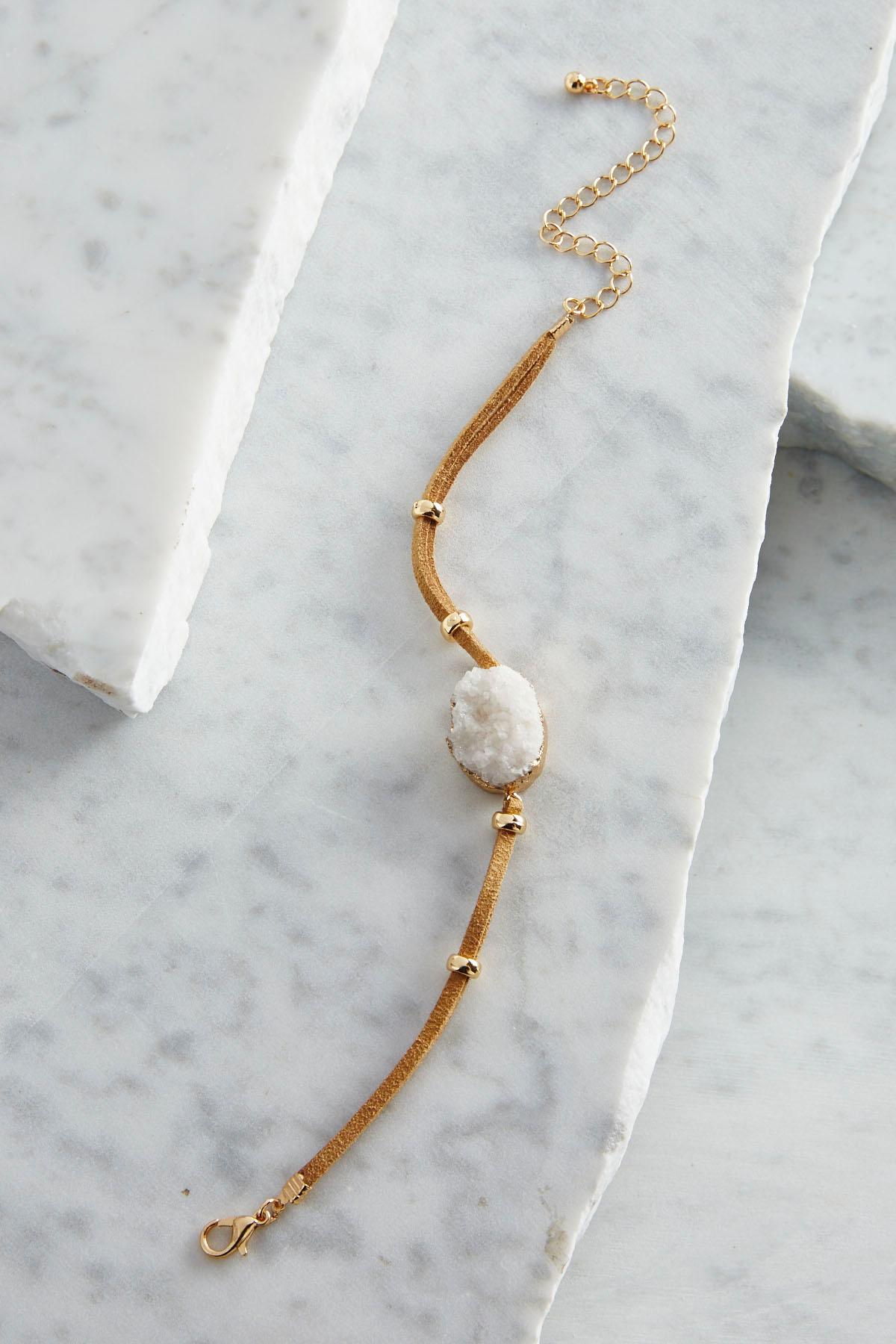 Druzy Stone Faux Suede Bracelet