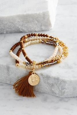 beaded charm layered stretch bracelet