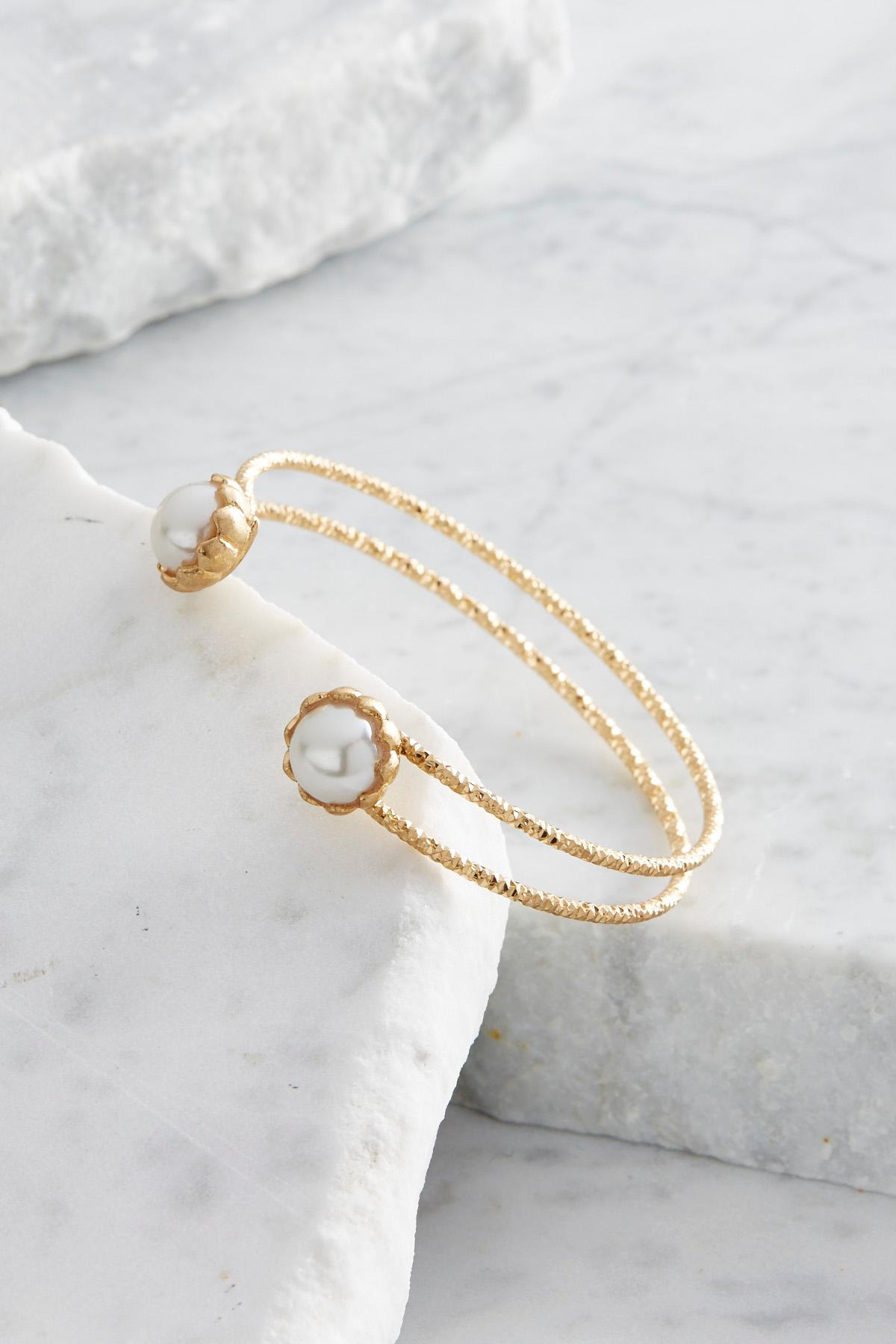Pearl Bordered Cuff Bracelet