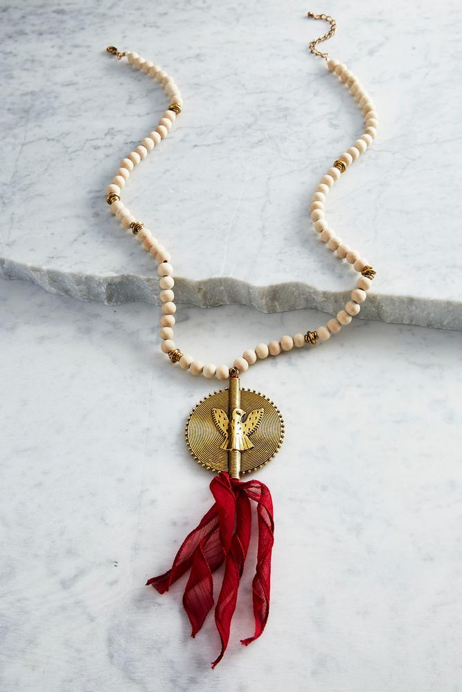 Bird Pendant Beaded Tassel Necklace