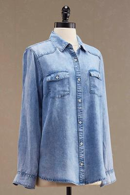chambray boyfriend tunic shirt