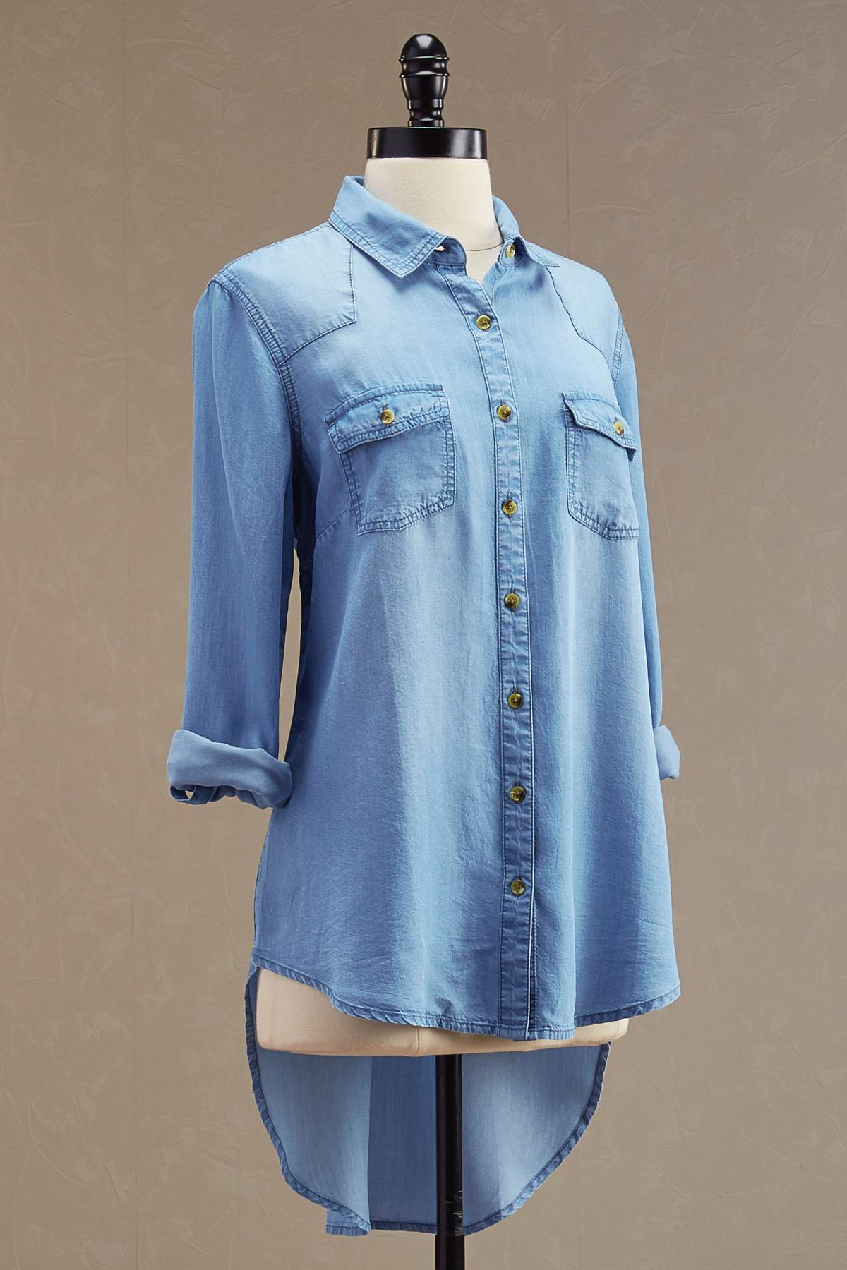 Chambray High- Low Tunic