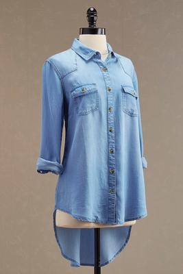 chambray high-low tunic