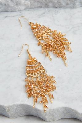 crystal fringe chandelier earrings