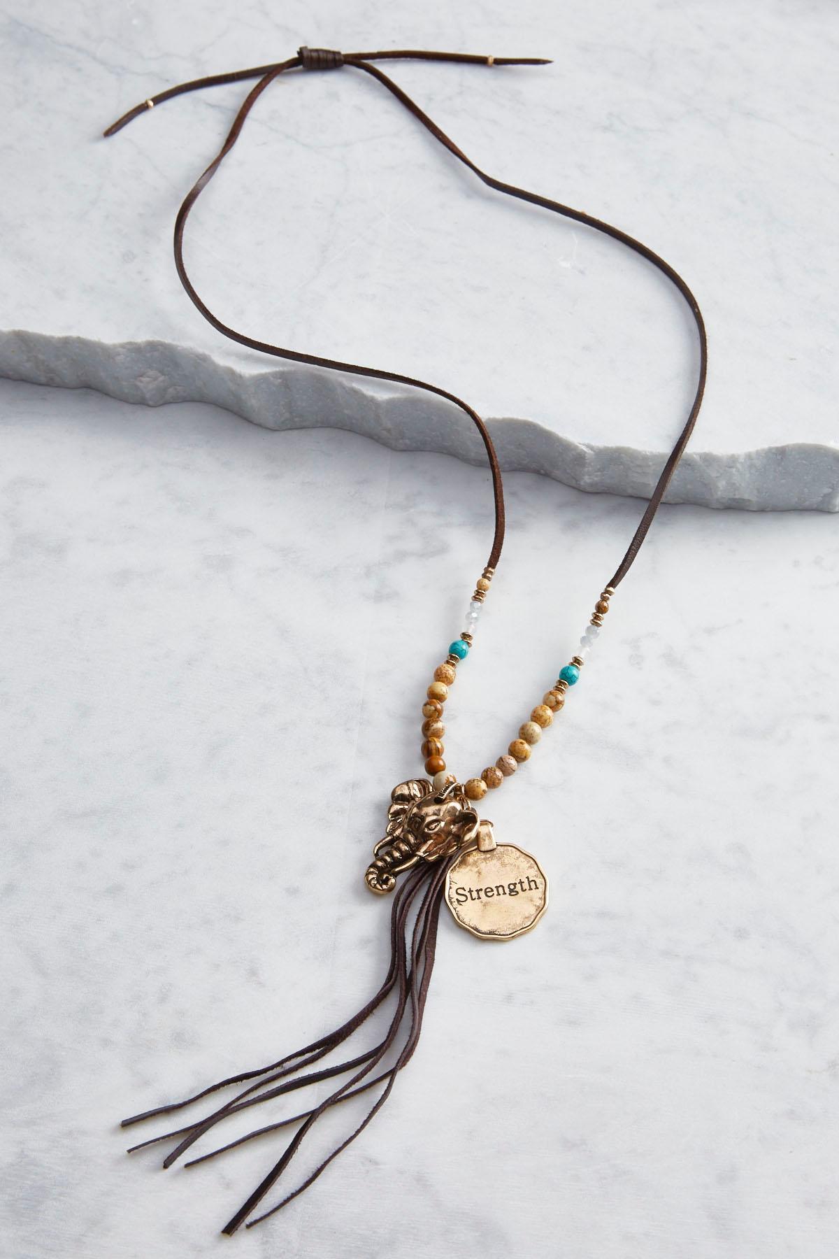 Elephant Charm Inspirational Necklace