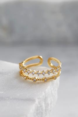 double pave brass bar ring