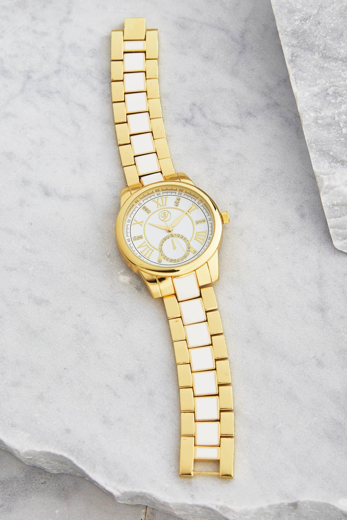 Two- Tone Metal Link Watch
