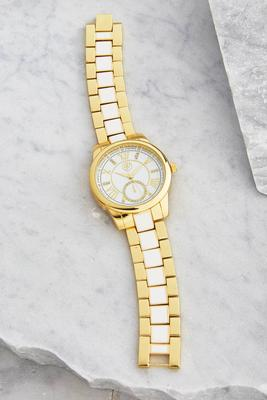 two-tone metal link watch