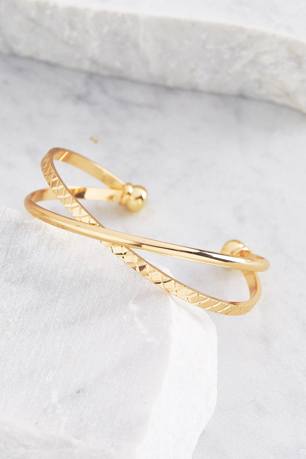 Cross Band Cuff Bracelet