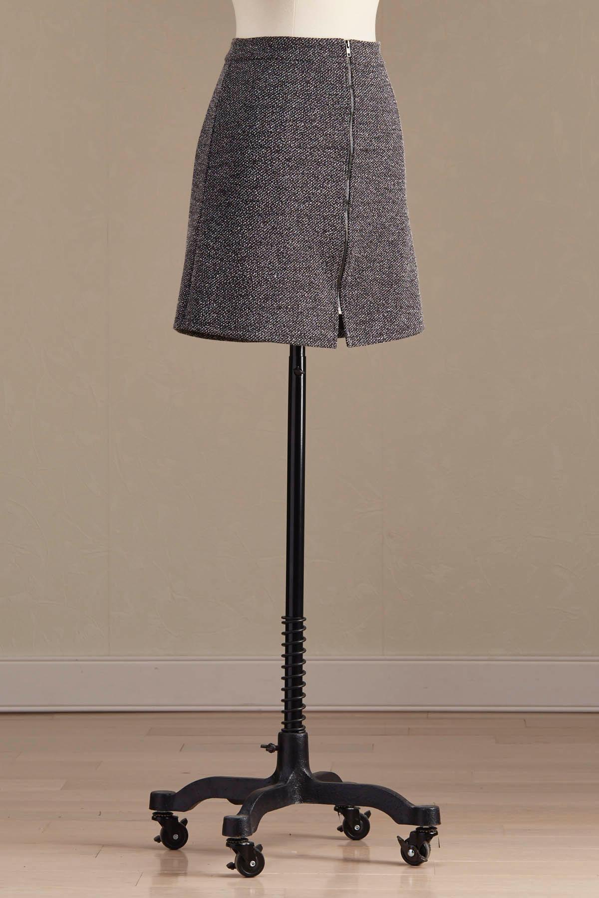 Marled Zip Front Mini Skirt