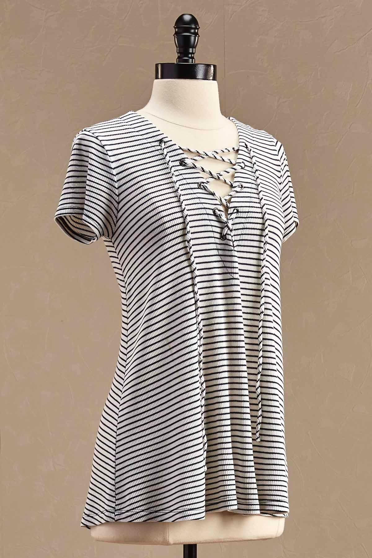 Ribbed Lace Up Striped Swing Top