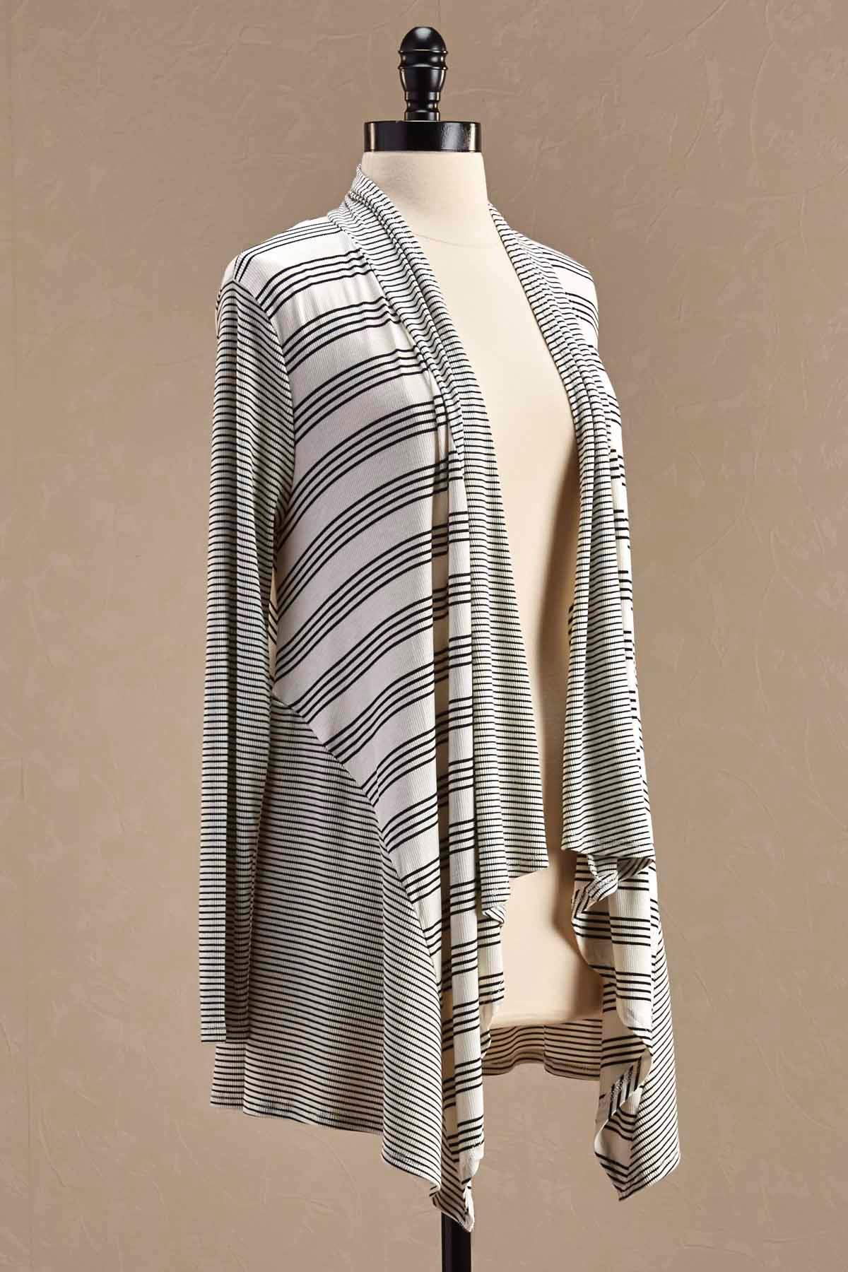 Mixed Stripe Waterfall Cardigan