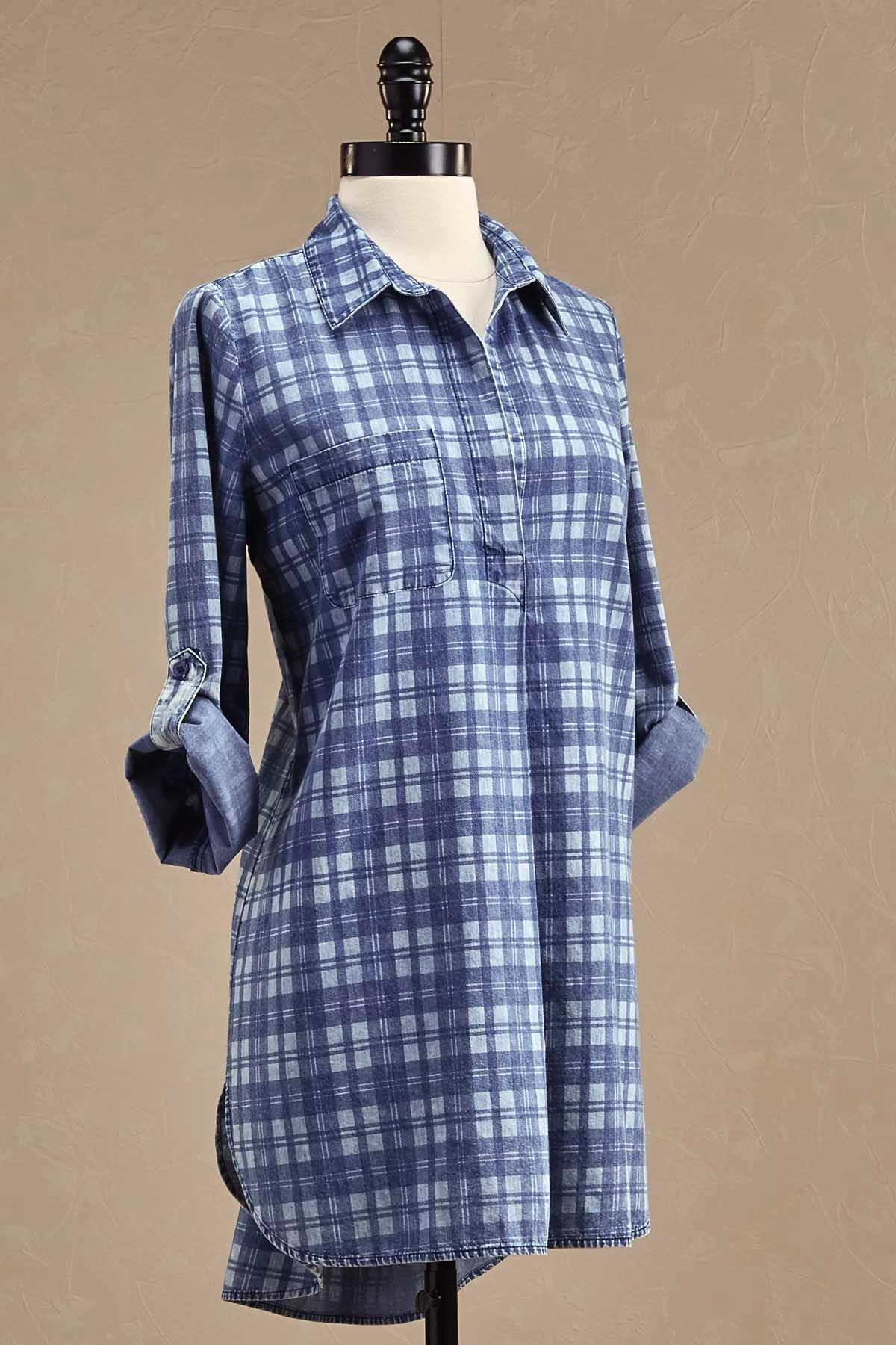 Plaid Denim Tunic