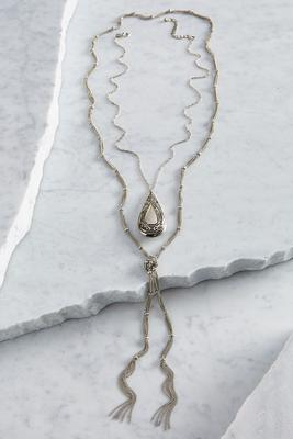 layered burnished tassel necklace