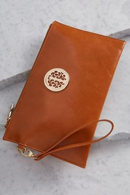 structured medallion wristlet