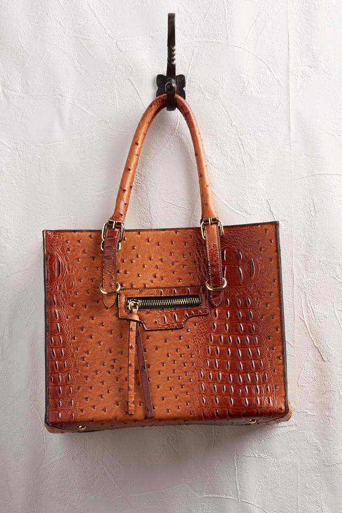 Faux Ostrich Zip Side Tote