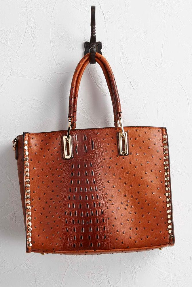 Studded Faux Ostrich Tote