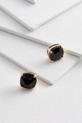 cushion stone stud earrings
