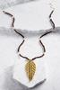 Beaded Leaf Pendant Necklace