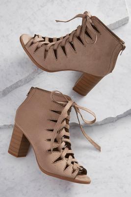 lace up block heel shooties