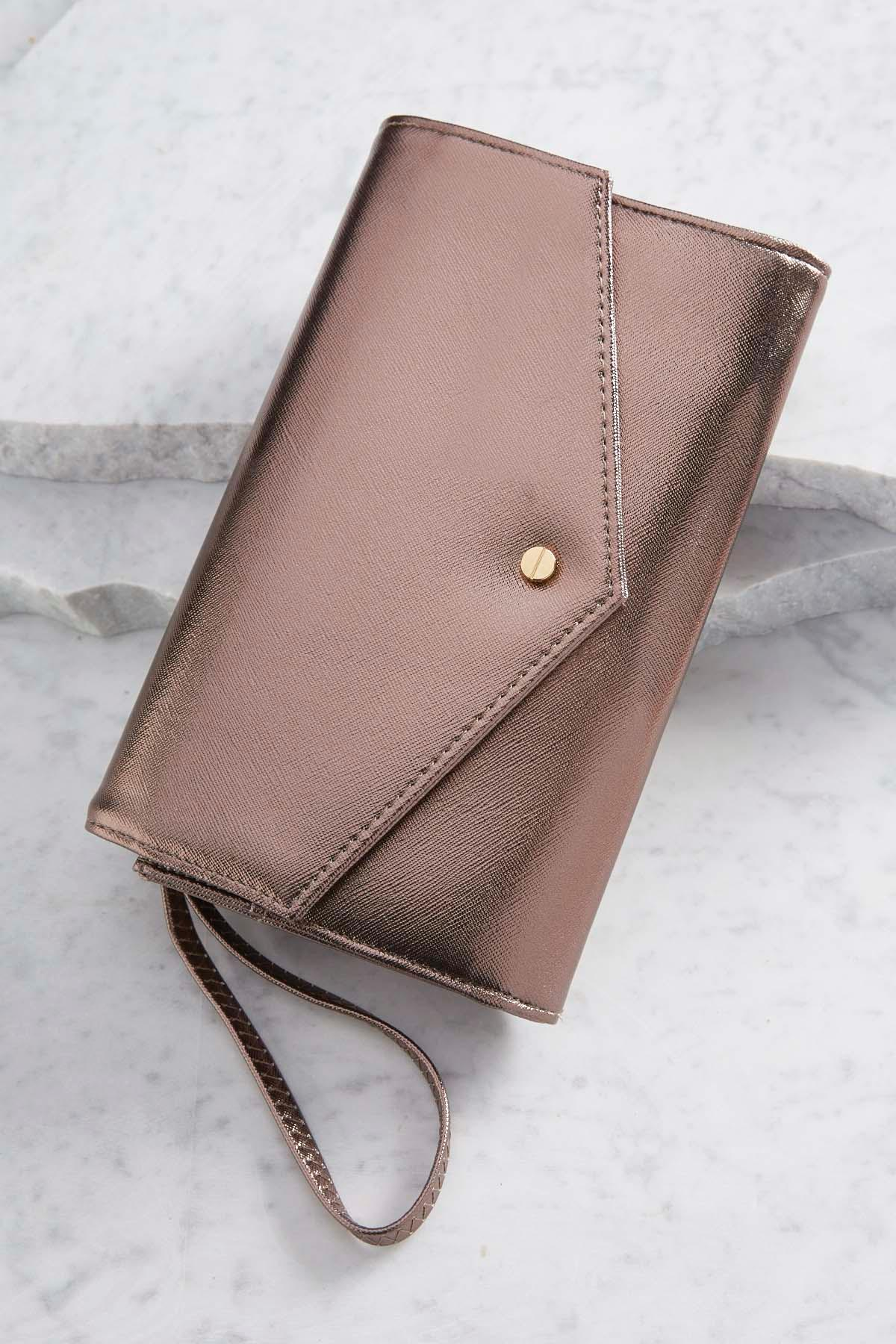 Metallic Passport Envelope Clutch