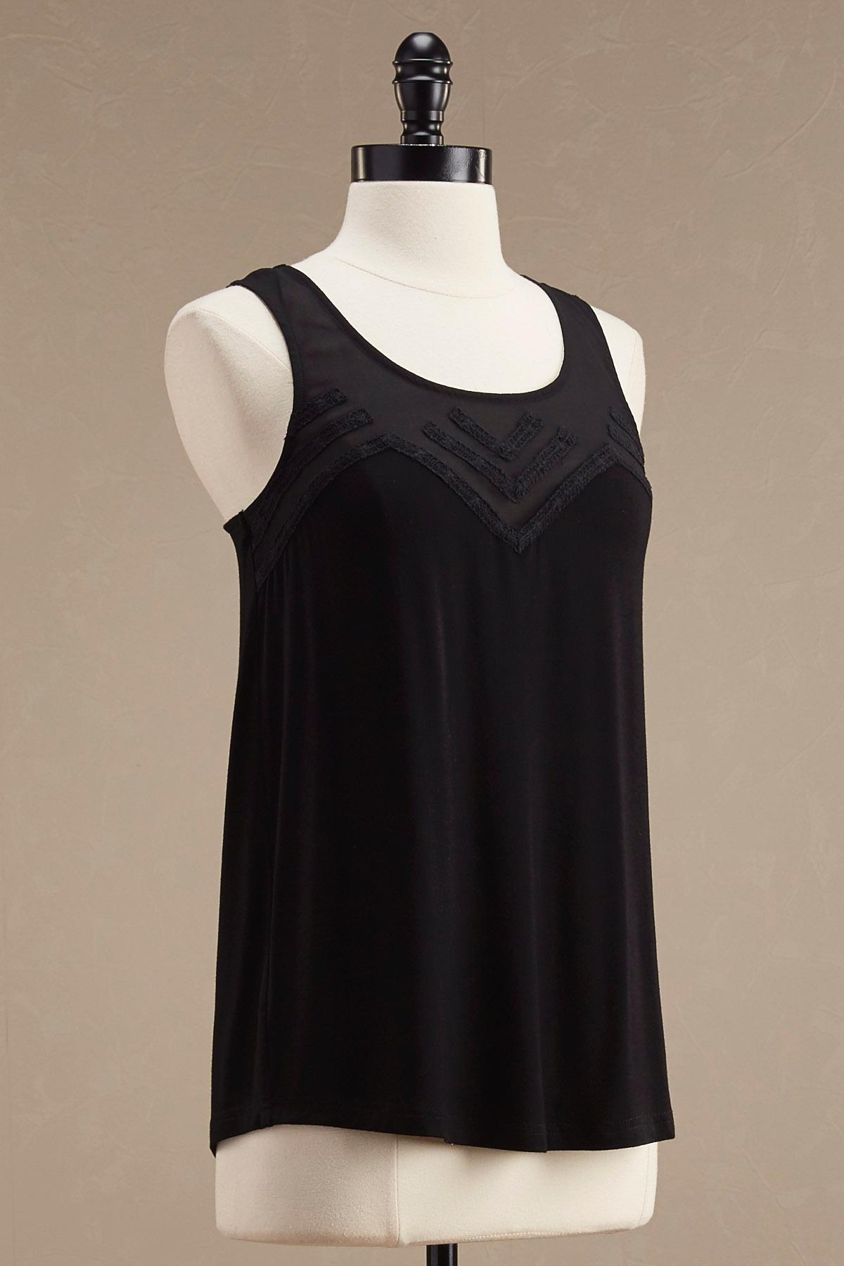 Crochet Trim Illusion Neck Tank