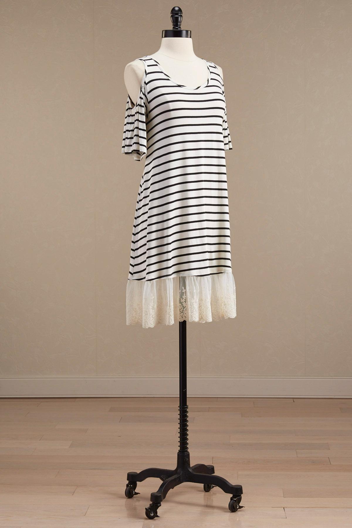 Striped Lace Hem Bare Shoulder Dress