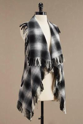 frayed plaid waterfall vest