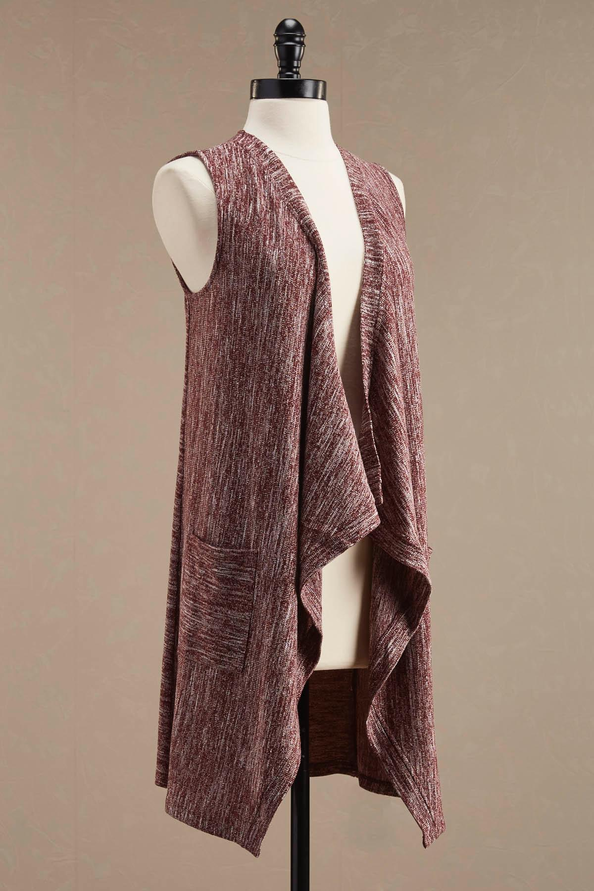 Marled Waterfall Duster Vest