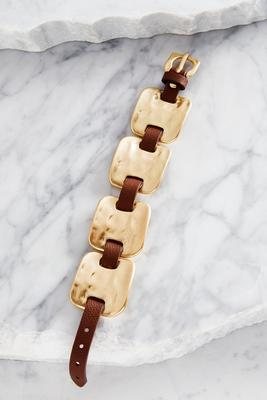 hammered plate faux leather bracelet