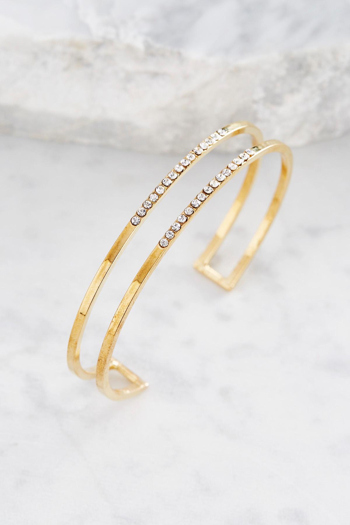 Pave Double Skinny Cuff Bracelet