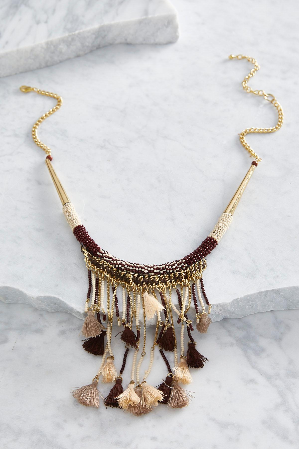 Tasseled Fringe Tribal Bib Necklace
