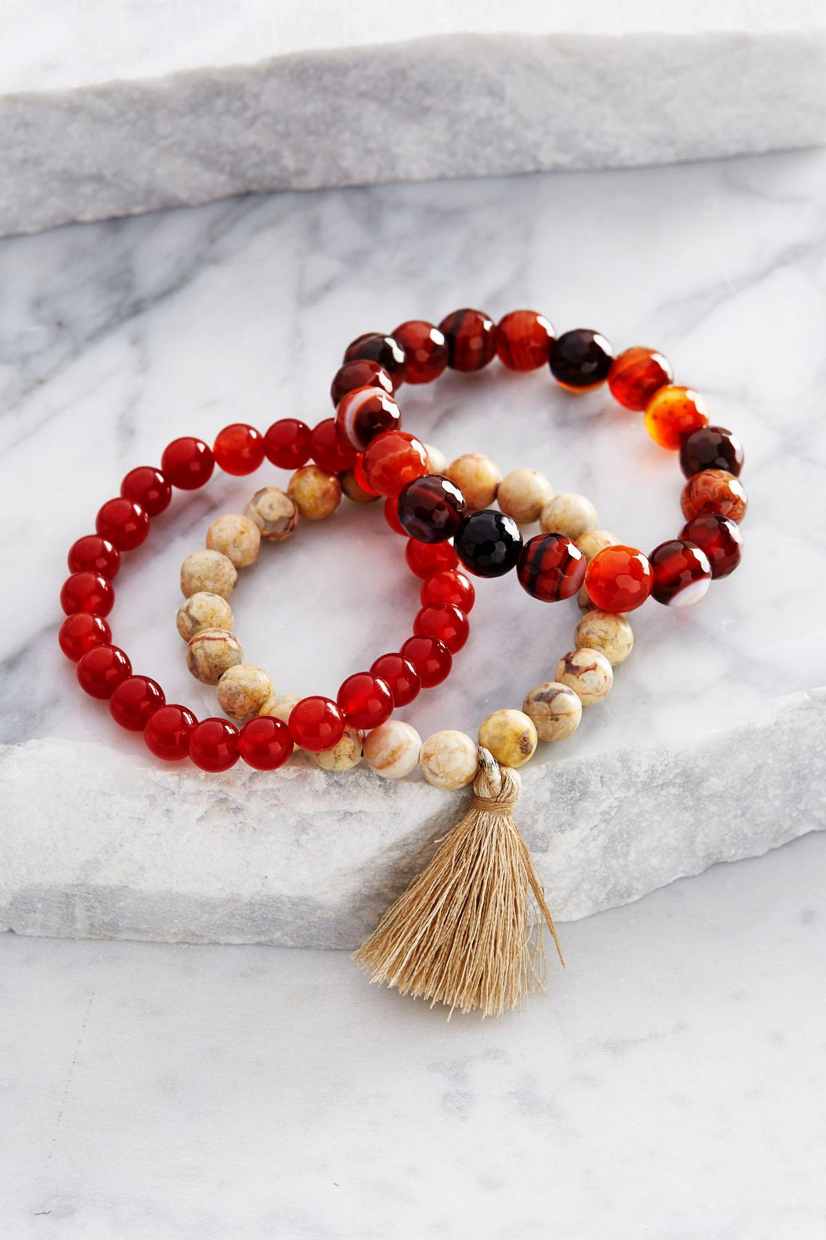Beaded Tassel Stretch Bracelet Set