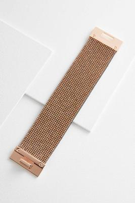 pave faux leather bracelet