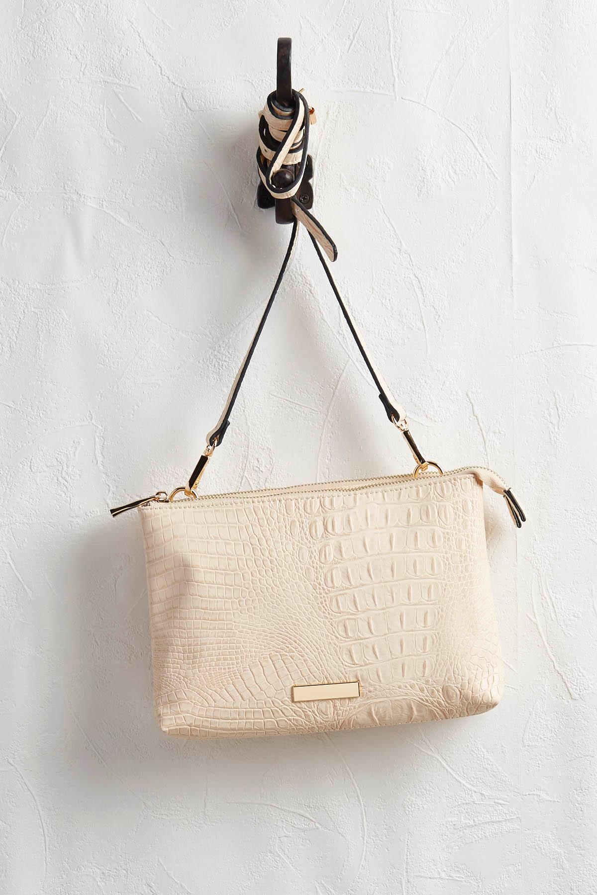 Double Pocket Ostrich Crossbody